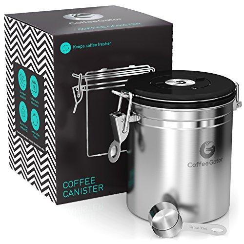 Coffee Gator Recipiente para Café de Acero Inoxidable – Recipiente para conservar los aromas del café con cuchara medidora incluida – Recipiente para de Café de CALIDAD PREMIUM. Tamaño mediano, Acero Inoxidable