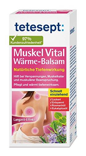 tetesept Muskel Vital Wärme-Balsam - Wärmende Rückensalbe mit ätherischen Ölen - Wärmecreme bei Verspannungen, Muskelkater und muskulärer Beanspruchung - 1 x 100 ml Tube
