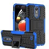 RioGree LG Aristo 2 Case, LG Aristo 3/Rebel 4 LTE/Aristo 2 Plus/Tribute Dynasty/Empire/Zone 4/Phoenix 4/Fortune 2/Risio 3/K8 Plus + 2018 Phone Case, with Screen Protector Kickstand Boys Girls, Blue