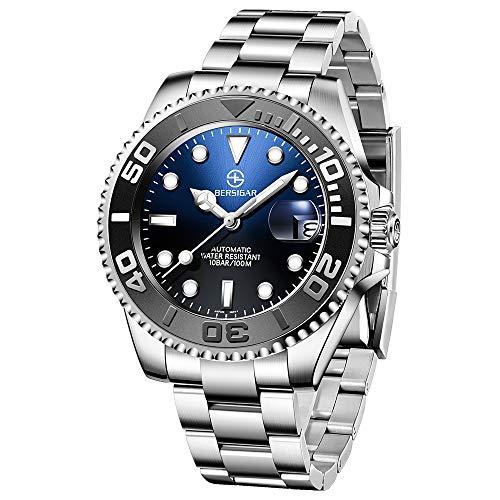 BERSIGAR Herrenuhren Automatische Armbanduhr Mechanische Edelstahluhr Wasserdicht 100M Fashion Business Synthetisches Saphirglas