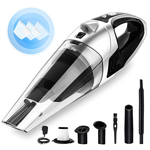 VacLife Handheld Vacuum, Hand Vacuum Cordless with High Power, Mini Vacuum Cleaner Handheld Powered by Li-ion Battery Rechargeable Quick Charge Tech, for Home and Car Cleaning, Wet & Dry - Silver