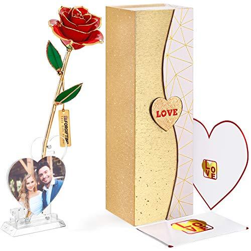 FORGIFTING Amore Idee Regalo per Lei, Fiori Rosa Eterna con 1 Cornici Foto, 1 Biglietto Auguri - Regalo Donne Mamma, Regalo Compleanno, Anniversario Regalo, Regali Natale, Regalo San Valentino (Rossa)
