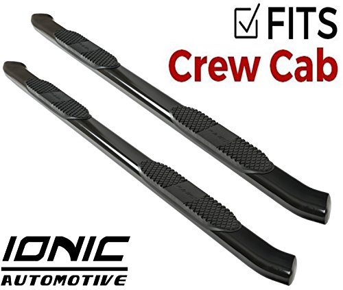 Ionic 5' Black Steel Curved Nerf Bars (fits) 2009-2018 Dodge Ram Crew Cab Only Truck Side Steps (423309BP)