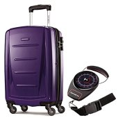 """Samsonite Winfield 2 Fashion HS 20"""" Spinner Purple with Portable Luggage Scale"""