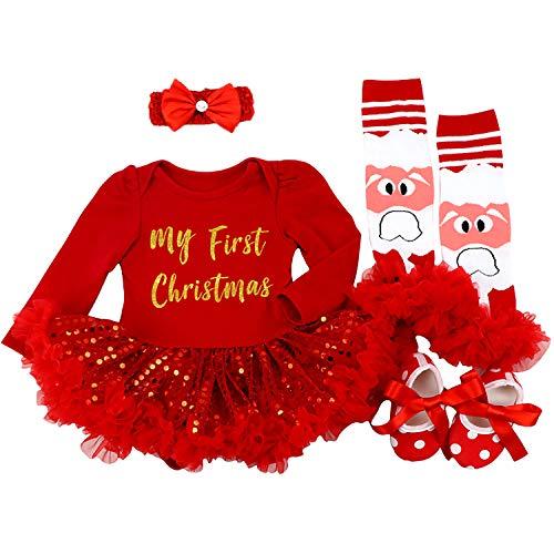 BabyPreg Neonate Il Mio Primo Natale Babbo Costume del Partito del Vestito 4PCS (3-6 Mesi, Rosso Il...