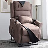 Irene House Power Lift Chair Modern Transitional Chair Lifts for Elderly Up to 300 LBS Soft Linen Breath Suede Fabric Sofa Lift Chairs Recliners Power Lift Recliner with Side Pocket (Brown)