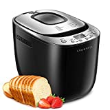 CROWNFUL 12-in-1 Automatic Bread Machine, 2 LB Programmable Bread Maker with Nonstick Pan and Gluten-Free Setting, 1 Hour Keep Warm Set, 2 Loaf Sizes, 3 Crust Colors, Recipe Booklet Included, ETL Listed