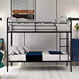 Bunk Bed,Metal Bunk Bed Twin Over Twin, Heavy Duty Metal Bunk Bed Frame with Safety Rail and Climbing Ladder Ladders for Kids Teens Adults,Black