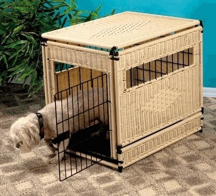 New Natural Finish Wicker Pet House