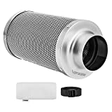 VIVOSUN 6 Inch Air Carbon Filter Odor Control with Australia Virgin Charcoal for Inline Fan, Grow Tent Odor Scrubber, Pre-Filter Included, Reversible Flange 6'x 18'