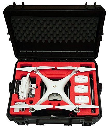 Custodia da trasporto Premium per DJI Phantom 4 Pro/Pro + / V1.0/2.0 / Adv/Adv + / Ossidiana, Spazio per 6 batterie + Un sacco di accessori, Custodia impermeabile per esterni IP67
