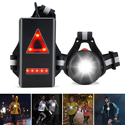 ZOOI Running Lights for Runners - 120° Adjustable Beam LED Chest Light, 360° Reflective Vest Body Torch Winter Night Running Gear Accessories, USB Rechargeable Flashlight for Cycling Dog Walking