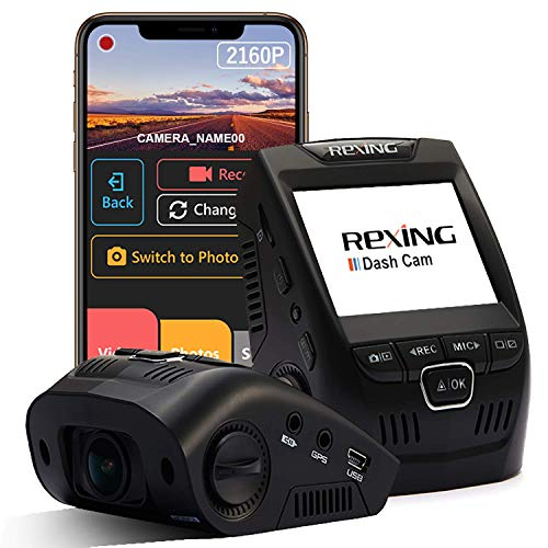"""Rexing V1 - 4K Ultra HD Car Dash Cam 2.4"""" LCD Screen, Wi-Fi, 170° Wide Angle Dashboard Camera Recorder with G-Sensor, WDR, Loop Recording, Supercapacitor, Mobile App, 256GB Supported (Renewed)"""