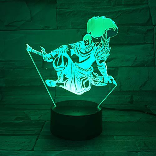 3D Nachtlicht League of Legends Yasuo Modell optical illusion Tischlampe LED Touch Fernbedienung 7...