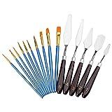 WEKON 5 Pcs Couteaux Palette Set Peinture Mixage Grattoir, avec 10 Pinceaux...