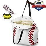 Baseball Tote Bag, Large Capacity 17×22×8 Inch Baseball Handbag with Pocket Closed Zipper - Bonus Women Headband Versatile Use for School Bag, Sports Bag, Travel Bag, Reusable Grocery Bag