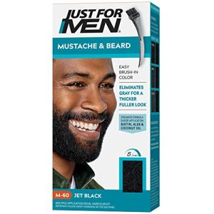Just For Men Mustache & Beard, Beard Coloring for Gray Hair with Brush Included - Color: Jet Black,...