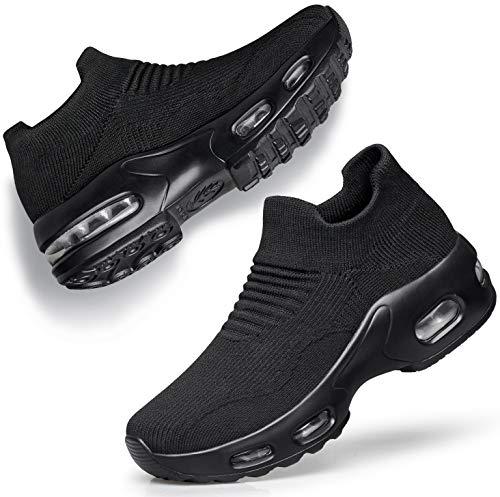 DOUSSPRT Womens Walking Shoes Slip on Sock Sneakers Lady Girls Nurse Mesh Air Cushion Platform Loafers Fashion Casual Black US Size 8.5