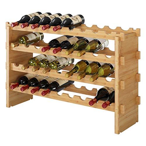 Homfa Portabottiglie Cantinetta per Vino Scaffale per Spumante Porta Vino in bamb 4 Ripiani per 36 Bottiglie 85 x 24 x 57 cm