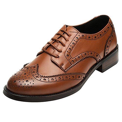 Rismart Mujer Brogue Dedo del Pie Puntiagudo Puntas De ala Oxfords Zapatos De Cordones SN02372(Marrón,EU38)