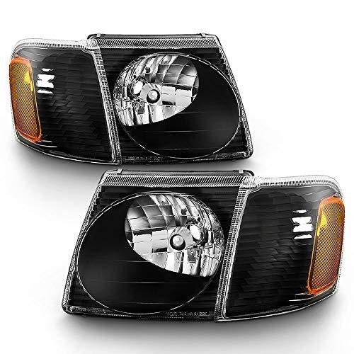 ACANII - For 2001-2005 Ford Explorer Sport/Sport Trac Headlights Headlamps w/Corner Lights 4PCS Driver & Passenger