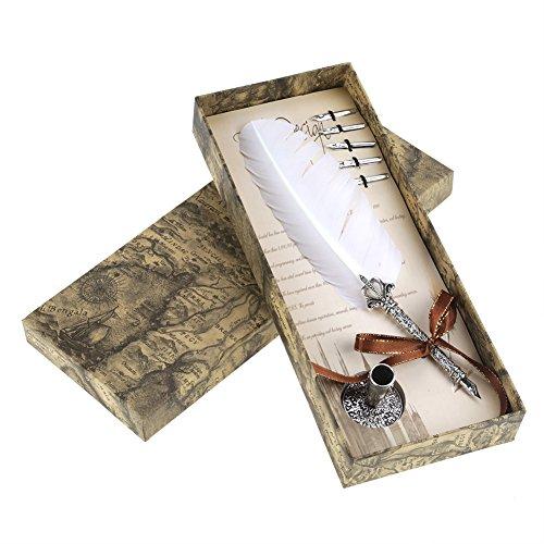 Vintage Quill Dip Pen, Penna di Metallo Pennino Calligrafia Set Penna con 5 Clip di Penna di Immersione e Un Regalo di Penna Regalo per Il Giorno di San Valentino di Natale (Bianco)