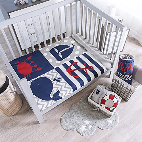 Nautical Bedding Crib Nursery Set Boy Blue Whales Mariner for Baby Shower Material: 100% Cotton 4 Pieces