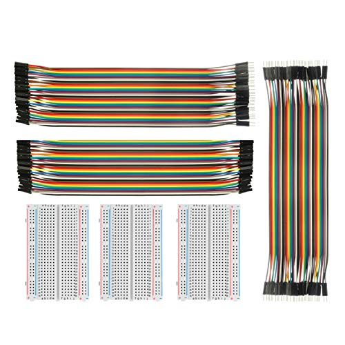 ✔️I cavi dei ponticelli con i panelli a 400 piedini sono comodi per i prototipi e l'esperimento di progettazione del circuito ✔️Pacchetto: 3 x 400 Pin Breadboards e 3Pc Jumper fili (1 x 40 pin maschio-femmina filo jumper, 1 x 40 pin Filo jumper wires...