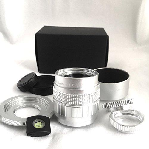 Fujian 35mm F1.7 銀 Cマウント単焦点レンズ マイクロフォーサーズ用アダプター付き マイクロリング付属で近接撮影もばっちり マイクロフォーサーズカメラで撮影が出来るセットです