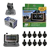 Truck System Technologies - TST 507 RV TPMS with Color Display - Tire Pressure Monitoring System for RVs, Campers & Trailers - Flow Thru Sensor Kit - Includes TST Monitor Sunshade - 10 Sensor TPMS Kit