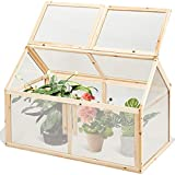 Costway Mini Serre en Bois100x53x71CM Vitrages Transparents en Polycarbonate...