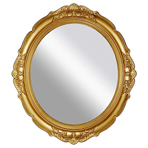 OMIRO Decorative Wall Mirror, Vintage Hanging Mirrors for Bedroom Living-Room Dresser Decor, Oval Antique Gold 13' W x 15' L