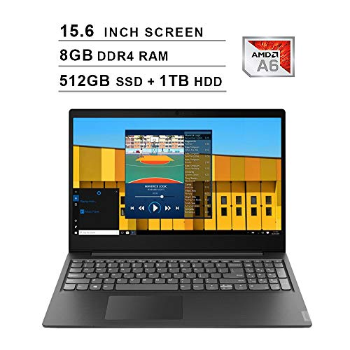 2020 Newest Lenovo Premium IdeaPad S145 15.6 Inch Laptop (AMD A6-9225 up to 3.1GHz, 8GB DDR4 RAM, 512GB SSD (Boot) + 1TB HDD, AMD Radeon R4, WiFi, Bluetooth, HDMI, Webcam, Windows 10) (Black)