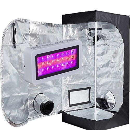 TopoLite LED 300W Full Spectrum Grow Light +24'x24'x48' Grow Tent Dark Room Indoor Hydroponic System Kit
