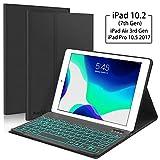 New iPad 10.2 7th Generation 2019 Keyboard Case, Boriyuan 7 Colors Backlit Detachable Keyboard Slim Leather Folio Smart Cover for iPad 10.2 Inch/iPad Air 3 10.5'(3rd Gen)/iPad Pro 10.5 inch – Black