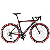 SAVADECK Carbon Road Bike, Warwinds3.0 700C Carbon Fiber Racing Bicycle with SORA 18 Speed Derailleur System and Double V Brake (Red, 54cm)