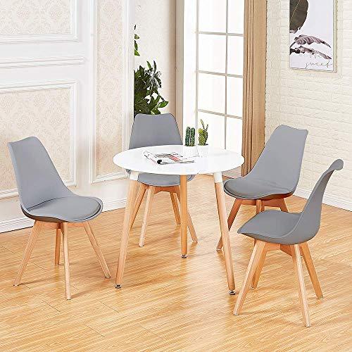 DORAFAIR Set aus Runder Esstisch und 4 Skandinavischen Stühlen, für Küche Esszimmer Büro, Grau Stuhl