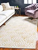 Unique Loom Marilyn Monroe Glam Collection Textured Lotus Floral White Gold Area Rug (2' 0 x 3' 0)