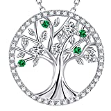 GinoMay Tree of Life Necklace for Her Birthday Gifts April Birthstone Simulated Diamond Jewellery Mum Wife Gifts Sterling Silver