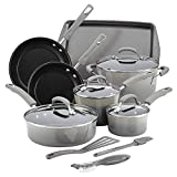 Rachael Ray Hard Enamel Cookware Set 14 Piece Sea Salt Gray