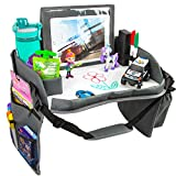 Kids Travel Tray with Dry Erase Board, Car Seat Lap for Food & Play Activity, Carseat Table Trays for Toddler, Kid Activity Desk for Air Travel, No-Drop Tablet Holder & Borders (All Grey)