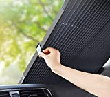 Le Remio Car Windshield Sun Shade, Retractable Sun Shade for car windowshield, Easy to Install and Use, Universal Car Sun Shades Keep Your Vehicle Cool (Black, 65CM)