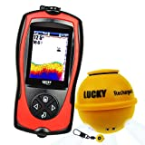 Lucky Wireless Fish Finder Fish Attractive Light Lamp & Color LCD, Portable Rechargeable Fishfinder Locator, 45M Depth 60M Sonar Sensor Transducer Range Boats Kayak Ice Night Fishing