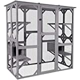 Aivituvin Cat House Outdoor Catio Kitty Enclosure with Super Large Enter Door, Wooden Cat Cage Condo Indoor Playpen with Platforms & Small House-71 Inch