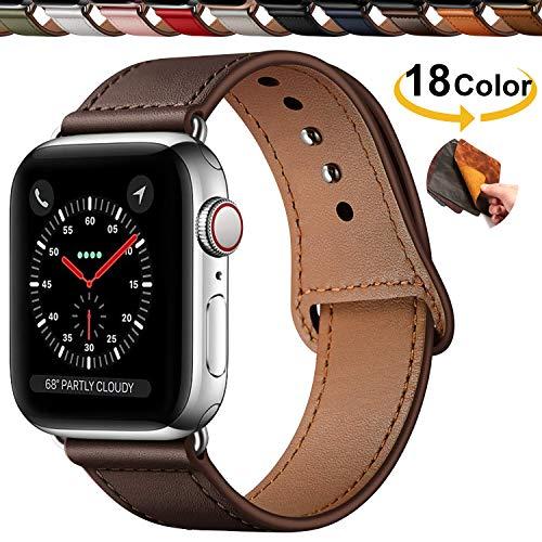 Chok Idea Innovador Hebilla Piel Genuina Correa Compatible with Apple Watch 38mm 40mm,Encubierto Hebilla Ensure Clean Fit Correa Replacment for iWatch Series 5 & 4 3/2/1,Chocolate Brown
