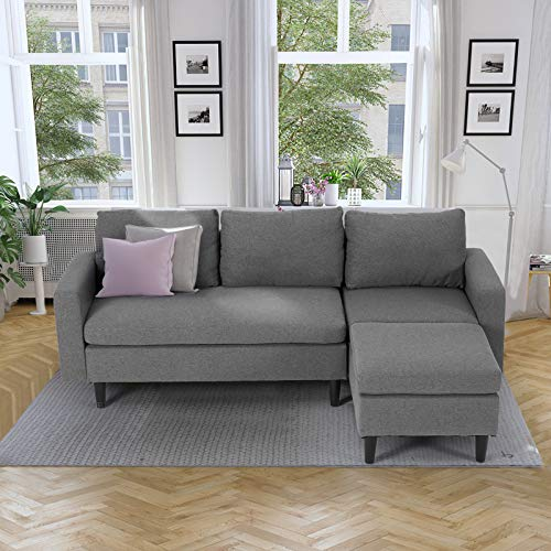 Esright Sectional Convertible Sofa Couch for Living Room, L-Shape Gray Couch with Chaise, 3 Piece Small Couch for Small Space, Apartment Sofa, Fabric, Gray