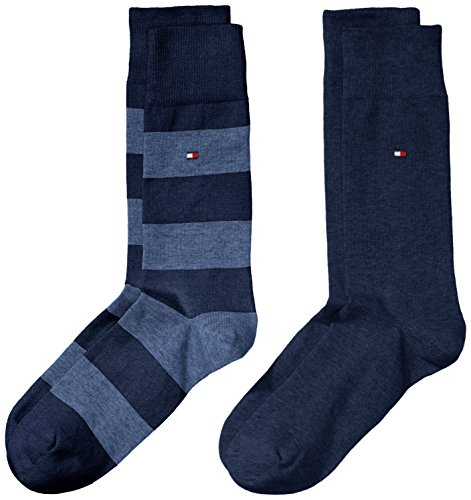 Tommy Hilfiger TH Men Rugby Sock 2P Calze, Blu(Blau (Jeans 356), 43-46 Uomo