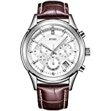 ♠ Protective Scratch-resistant mineral crystal lens; Round stainless steel case. High-quality materials protect precise Japanese-quartz movement keeping good time. ♠ Chronograph function, 24 hour read-out and chronograph timer, white dial with date c...