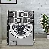 KANUSHI Industries Washable & Dustproof Box Design Front Load Automatic Washing Machine Cover (Black) (Suitable for 6 Kg, 6.5 kg, 7 kg, 7.5 kg)(WASMAC-BLACK-BOX-FRONT-01)