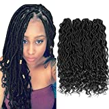 "Lihui 6Pcs/Lot Goddess Locs Crochet Hair Curly Faux Locs Crochet Hair Wavy Faux Locs with Curly Ends Synthetic Braiding Hair Extension (20"",#1B Color)"